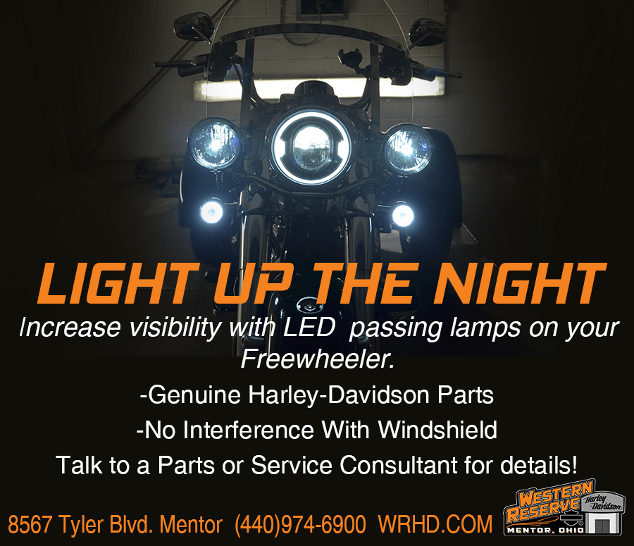 Increase visibility with LED passing lamps on your Freewheeler.